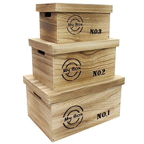 Ikee Design Wooden Storage Container Box Organizer with lid and handles (Wood Storage Box With Lid compare prices)