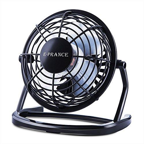 E-PRANCE® USB扇風機 卓上 USBファン 4枚羽根 360度角度調整 ブラック