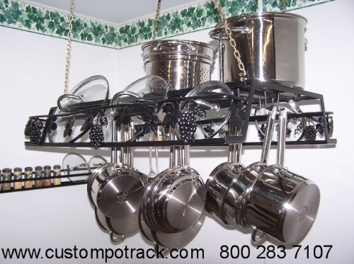 Cheap Hanging Artistic Grapevine Pot Pan & Lid Rack Amish made in USA (HGV)