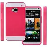 TPU Strass Glitzer Silikon Hülle Hüllen Schutzhülle Tasche Etui Protection Case Protective Cover für HTC One M7 Rosa Rot+Weiß