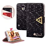 Moon Monkey High Quality Crystal Fashion Bling Magnet Adsorption Case for Samsung Galaxy S5 I9600 with Wallet and Stand Function (Black)