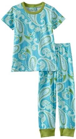BedHead Pajamas Little Girls'  Hawaiian Paisley Lagoon Short Sleeve Tee and Pant Set, Blue, 5T