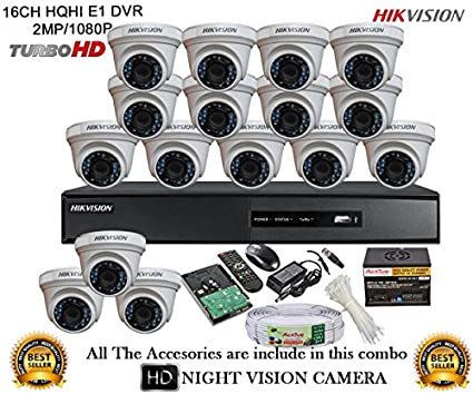 Hikvision-DS-7216HQHI-E2-16CH-Dvr,-16(DS-2CE56DOT-IR)-Dome-Camera-(With-Mouse,-Remote,2TB-HDD,-Bnc&Dc-Connectors,Power-Supply,Cable)