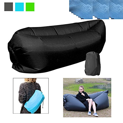 3 EEEKit Outdoor Convenient Inflatable Lounger Nylon Fabric Sleeping Compression Air Bag Hangout Bean Bag Portable Dream Chair for Outdoor Gathering (Black)