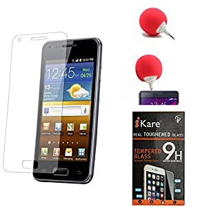 iKare Premium Shatter Proof Tempered Glass Ultra Clear Screen Protector for Microsoft Lumia 640 XL + 3.5mm Audio Dock Sponge Speaker