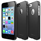 Apple iPhone 5 / 5S Case - Ringke SLIM Case [SF BLACK Logo Cut-out][Better Grip] -Logo Protection Stickers Included- Premium Dual Coated Hard Case Cover for Apple iPhone 5 / 5S [ECO Package]