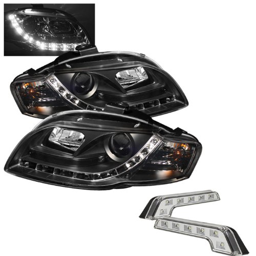 Carpart4U Audi A4 ( Will Not Fit Convertible ) Drl Led Black Projector Headlights And Led Day Time Running Light Package