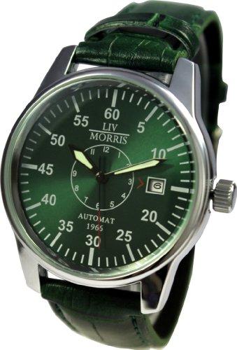 LIV MORRIS Automatik Herrenuhr 1966 YORK, mechanische Armbanduhr, SeaGull Uhrwerk, automatischer Aufzug, Edelstahl-Glasboden, lumineszierende Zeiger, dunkelgrün changierendes Zifferblatt, Lederarmband, von LIV MORRIS