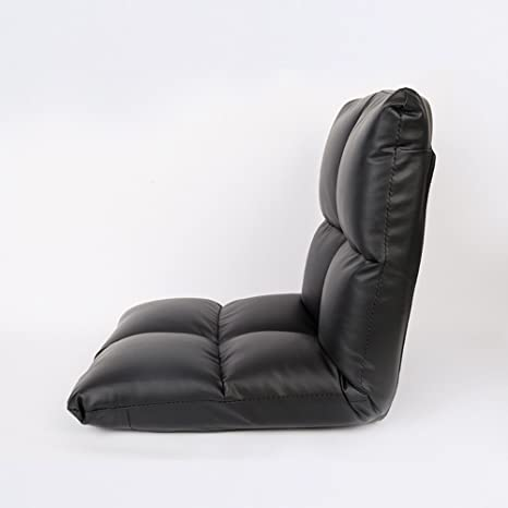 Schlafzimmer kleines Sofa, faules Bett, Rucken 6 Stände können gefaltet werden, bequem und weich ( Farbe : Schwarz )