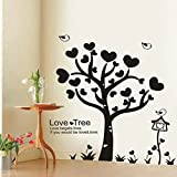 UberLyfe Black Tree of Hearts Wall Sticker (Wall Covering Area: 120cm x 150cm)