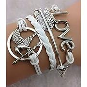 EmBest White Antique Silver Arrow BraceletHunger Game BraceletLove Bracelet