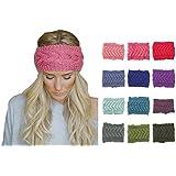 Flyusa Women 80s Winter Warm Cable Pattern Twist Knitting Knitted Wool Crochet Hair Band Headband Ear Warmer