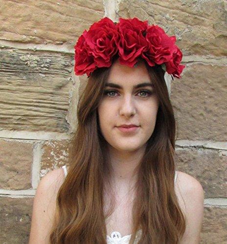 Grande fleur rose rouge cheveux Bandeau Couronne Guirlande vintage  Big/festival/style bohème T55