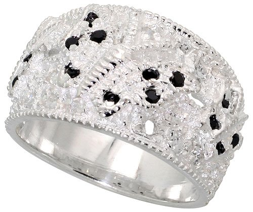 Sterling Silver Butterfly Dome Band, w/ High Quality Black  &  White CZ Stones (Available in Sizes L to T), 7/16