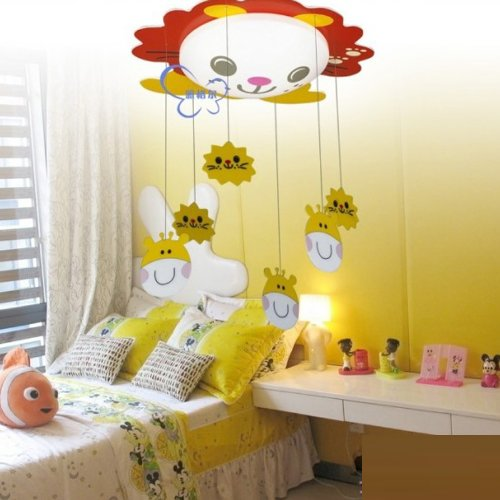 Cartoon Animal Led Kid'S Room Ceiling Lamp Baby Room Ceiling Lamp Bedroom Ceiling Lamp Sunflower Frog Lion Rabbit Ceiling Lamp (Lion)
