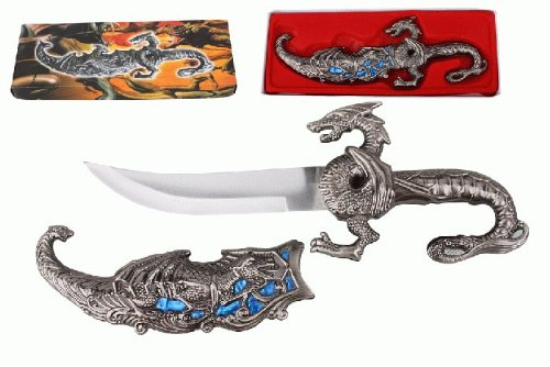 "10"" Fantasy Dragon Dagger With Gift Box (Blue Fitting)"