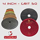 "STADEA Grit 50 4"" Diamond Polishing Pads Premium Grade Wet Flexible 3 MM High"
