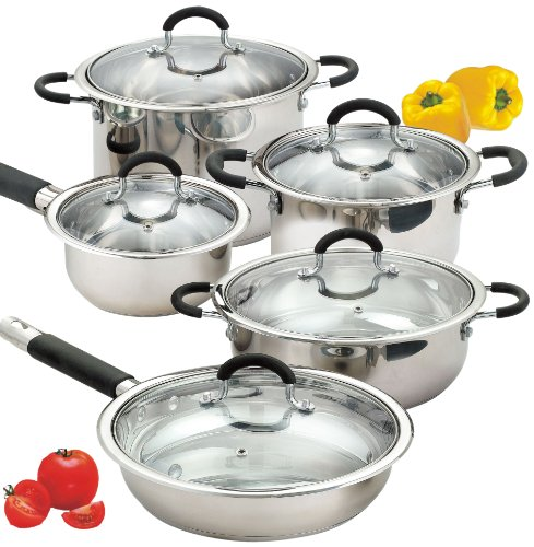 Cook N Home 10-Piece Stainless Cookware Set Encapsulated Bottom