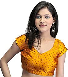 Exotic India Bollywood Printed Bandhej Choli with Dori Back - Color AmberGarment Size X-Small