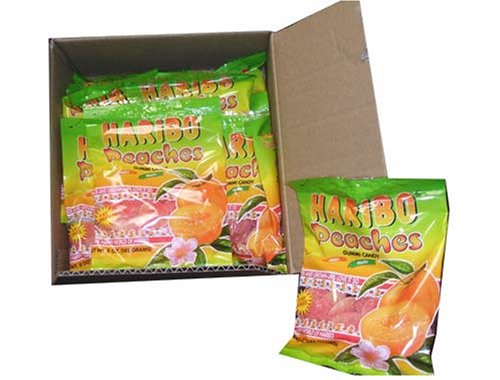 Haribo Gummi Candy, Peaches, 5-ounce Bags (Pack of 24) (Gourmet,Haribo,Gourmet Food,Candy,Gummy Candies)