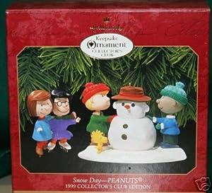 HALLMARK 1999 Peanuts Club Snow Day 1999 set of 2 Hallmark Keepsake Ornament