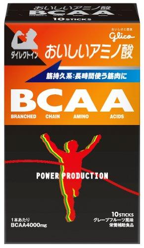 グリコ パワープロダクション おいしいアミノ酸 BCAAスティックパウダー グレープフルーツ風味 1本(4.4g) 10本