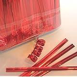 """100pcs 4"""" Metallic Red Twist Ties"""