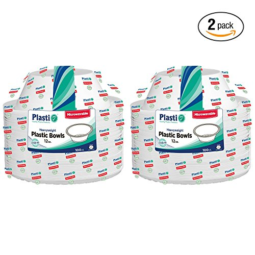 Plasti Plus 100 Count Disposable Plastic Heavy Weight Bowls Microwave Safe 12 Ounce, White Pack Of 2 (200 Bowls Total) (Microwave Safe Disposable Cups compare prices)