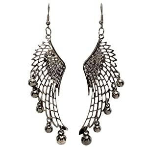 Unique Dangling Chandelier Bling Bling Earrings in Black plated Alloy Metal Angel Wing Guardian with graduating round Petals (Length 3.5 inches, 1 Inches wide, Fishhook)