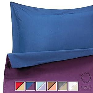 Duvet Cover Set for Comforter, Queen, Reversible Navy Blue and Purple