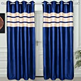 "Story@Home Eyelet Fancy Polyester 2 Pc COMBO Ringtop Eyelet Designer Door Curtains,  7 ft  46 "" X 84 "" Blue"