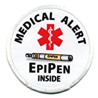 EPIPEN INSIDE Medical Alert 2.5 inch Sew-on Patch by Creative Clam