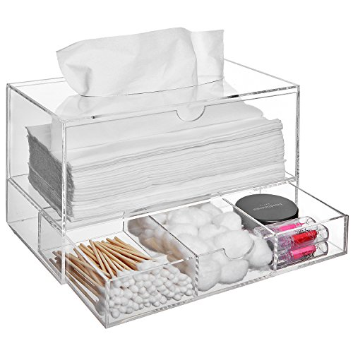 Modern Clear Acrylic Countertop Pull Out Storage Drawer / Cosmetic Organizer Box w/ Tissue Dispenser (Pull Out Countertop compare prices)