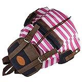MERSUII Canvas Backpack School Bag Stripe College Bag for Teens Students (Pink)