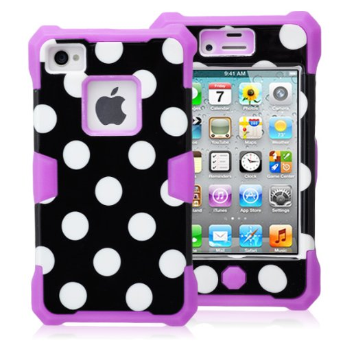Magicsky Plastic + Silicone Hybrid Black Polka Dot Pattern Active Glow Case For Apple Iphone 4 4S 4G - 1 Pack - Retail Packaging - Purple/Black