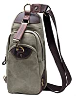 Gootium 21105 Men's Canvas Genuine Leather Cross Body Chest Pack- Inventory