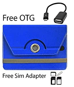 Blue Stylabs Tablet Book Flip Case Cover For Lava Xtron Z704 (Universal) (Free OTG Cable & Sim Adapter)