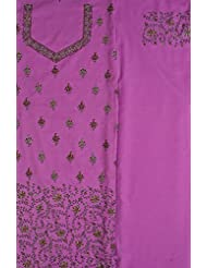 Exotic India Opera-Mauve Salwar Kameez Fabric With Needle Embroidery By - Purple