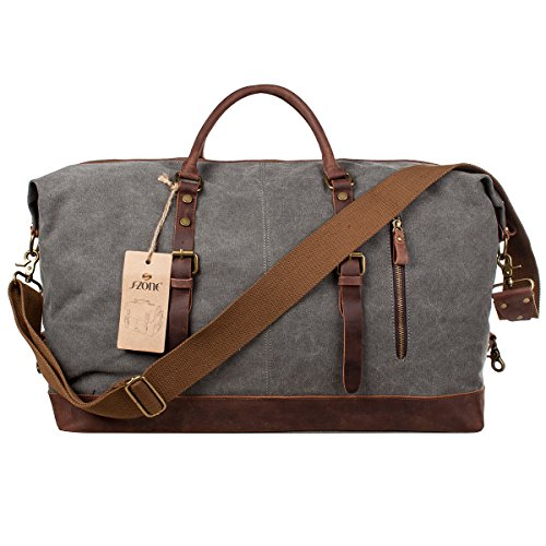 S-ZONE Mens Canvas Leather Holdall Travel Duffle Overnight Weekend Satchel Totes Bag Handbags