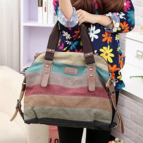 Cgecko M-1196 Leisure Canvas Top Handle Cross Body Bag Tote Handbags For Women image