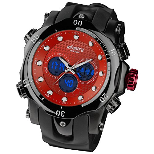 Luminous Infantry Mens Military Army Sport Luxury Quartz Wrist Watch Black Rubber/Silicone #In-060-R-R