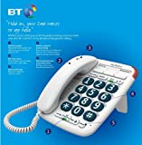 BT Corded Analogue Telephone - BT Big Button 200 (Mk II) Telephone - White 10 no directory hands free message waiting indicator ring controller