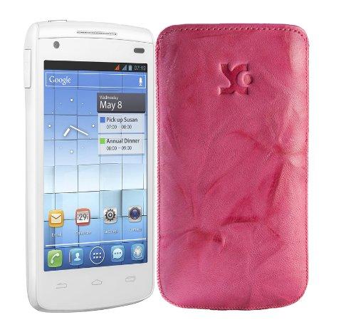 Original Suncase Tasche fuer / Alcatel One Touch 992D (Dual-Sim) / Leder Etui Handytasche Ledertasche Schutzhuelle Case Huelle - Lasche mit Rueckzugfunktion* In Wash-Pink