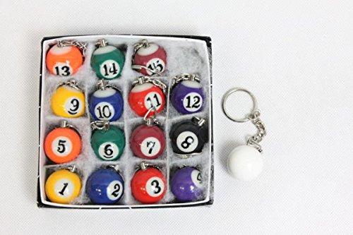 ビリヤードボール型キーホルダー16個セット【1~15番+白ボール】本物と同じ素材【JUEKO】BY-6770A