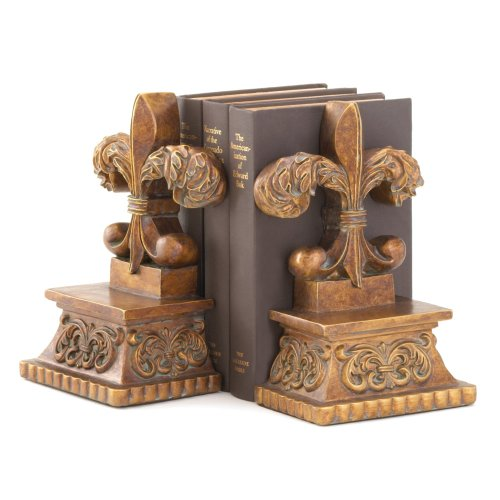 Gifts & Decor Bronze Color Fleur De Lis Book End Set