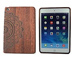 Fashion Case Unique Eco-Friendly 100% Real Natural Roseood with Laser Engraved Eight Petal Flower Pattern Hard Shell Case for iPhone 6 Plus (GMWD-IPADMINI-N03)
