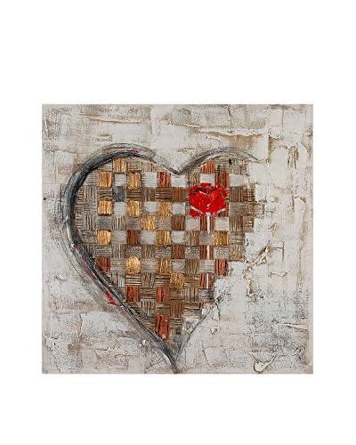 Arte Dal Mondo Pannello Decorativo su Tela Edgar Ramirez Cuore Con Rosa