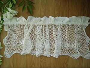 Vintage Hand Crochet Lace Cotton Cafe Curtain/valance-white