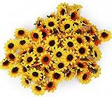 Artificial Little Sun Flower Heads Silk Pack of 100 Yellow