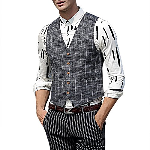 Zicac Men's Spring Autumn Blazer Jacket Suit Waistcoat Business Gentleman British Style 5 Button Classic Grey Plaid Printings checked Outwear Casual Slim Fit Separate Vest Gilet (XL) steampunk buy now online